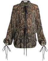 Chloé Oriental-print silk-crepon blouse
