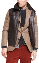 Brunello Cucinelli Lamb Leather & Shearling Vest