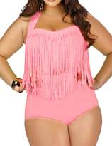 Papaya Wear Women's Retro High Waist Braided Fringe Top Bikini Swimwear Plus