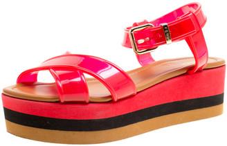 Fendi Red PVC Hydra Crisscross Ankle Strap Platform Sandals Size 37