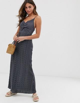 ASOS DESIGN twist front plisse maxi dress in spot print