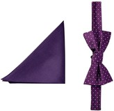 Tommy Hilfiger Pin & Solid Silk Bow Tie & Pocket Square Set