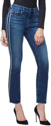 Good American Good Straight Athletic Stripe High Waist Straight Leg Jeans (Blue 122) (Regular & Plus Size)