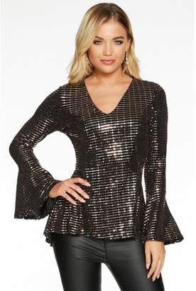 Quiz Black and Bronze Sequin V Neck Flute Sleeve Peplum Top