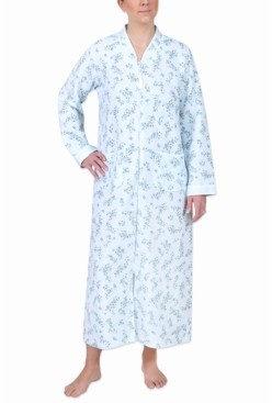 Miss Elaine Quilted Printed Long Zipper Robe