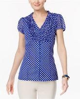 INC International Concepts Ruffled Polka-Dot Blouse, Only at Macy's