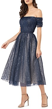 Carmen Marc Valvo Off-the-Shoulder Sparkle Mesh Dress