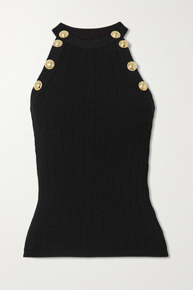 Balmain - Button-embellished Ribbed-knit Tank - Black