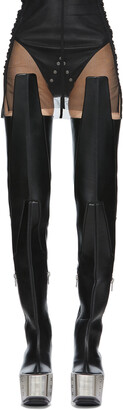 Rick Owens Black Thigh High Wader Tall Boots