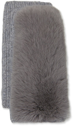 Yves Salomon Cashmere Knitted Gloves w/ Fox Fur Trim