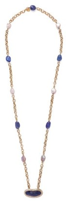 Jade Jagger Diamond, Tanzanite, Pearl & 18kt Gold Necklace - Blue