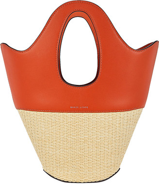 Danse Lente Small Leather-Trimmed Straw Tote