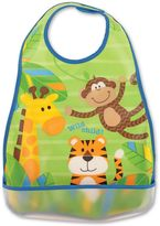 Stephen Joseph Monkey Wipeable Bib in Blue