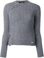 DSQUARED2 zipped rib knit jumper