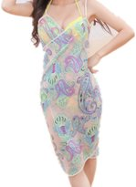 CHANGY Women's Sexy Bikini One Piece Cover up Bohemian Beach Wrap Dress Scarves-oranzebra