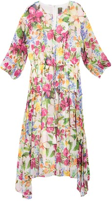 Taylor Long Sleeve Tie Waist Floral Print Midi Dress (Plus Size)