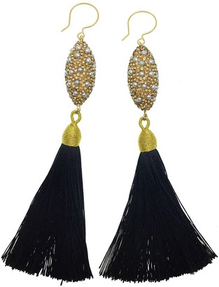 Farra Rhinestones Bordered Pearl Black Tassel Earrings
