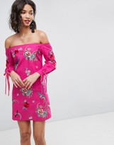 Asos Design Off Shoulder Embroidery Mini Dress with Cuff Ties