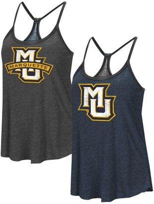 Colosseum Women's Heathered Navy/Heathered Black Marquette Golden Eagles Clearly Inside Reversible Tank Top