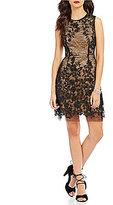 Betsey Johnson Round Neck Sleeveless Illusion Lace Sheath Dress