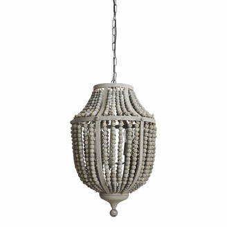 Creative Co-op Metal Chandelier with Distressed Grey Wood Beads