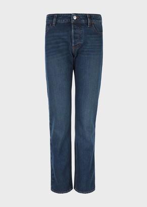 Emporio Armani J60 Regular-Fit, Worn-Wash, Rigid Denim Jeans