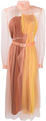 Maison Margiela Layered Sheer Shirt Dress