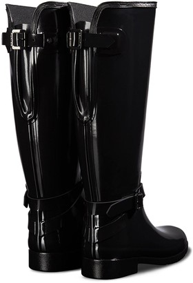 Hunter Refined Back Adjustable Tall Gloss Welly -Black