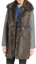 Laundry by Shelli Segal Women's Mixed Media Anorak With Faux Fur Trim