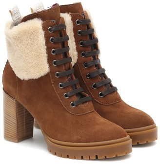 Bogner Sofia suede and shearling ankle boots