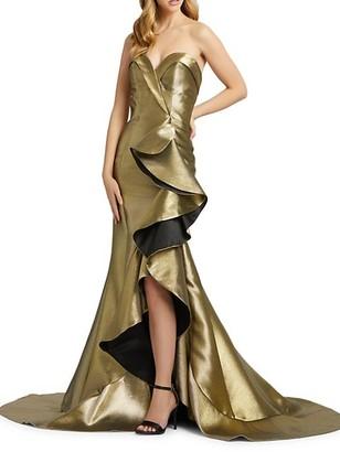 Mac Duggal Strapless Metallic Ruffle Trumpet Gown
