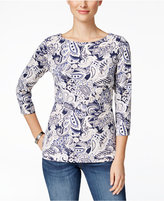 Charter Club Petite Paisley-Print Boat-Neck Top, Only at Macy's