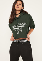 Missguided Green Stockholm Graphic Cropped Hoodie