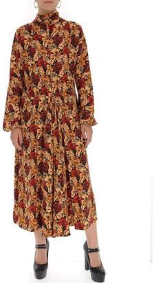 Prada Floral Print Cinched Waist Dress