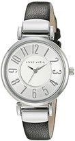 Anne Klein Women's AK/2157SVBK Easy To Read Silver-Tone and Black Leather Strap Watch