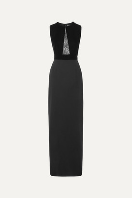 Givenchy Lace-paneled Velvet And Crepe Gown - Black