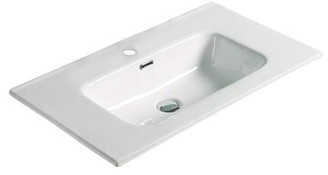 "American Imaginations 24.16"" Single Bathroom Vanity Top in White with Sink Faucet Mount: Single"