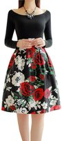 Chouyatou Women's Vintage Floral Multi-Colored Pleated Bubble Flared Midi Skirt