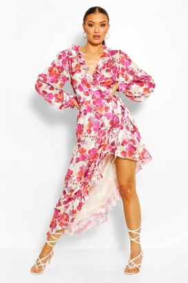 boohoo Floral Ruffle Front High Low Maxi Dress