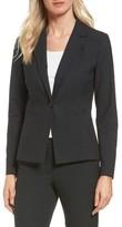 Petite Women's Halogen 'Ela' One-Button Stretch Suit Jacket