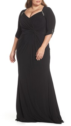 Mac Duggal Embellished Twist Front Jersey Gown(Plus Size)