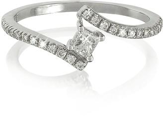 Forzieri Squared Diamond 18K White Gold Solitaire Ring