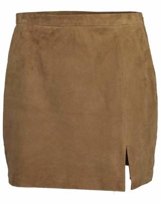 Marissa Webb Sandstone Suede Kami Slip Skirt