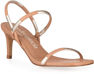 Pedro Garcia Ilona Two-Tone Metallic Strap Sandals