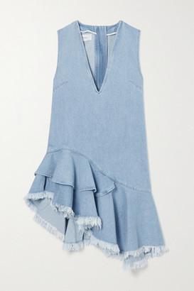 Marques Almeida Asymmetric Frayed Ruffled Denim Dress - Blue