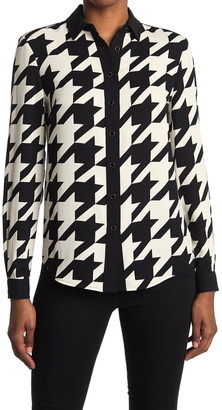 Anne Klein Large Houndstooth Button Down Blouse