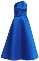 Theia Zibeline Strapless Midi A-Line Cocktail Dress