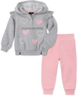 Calvin Klein Baby Girls 2-Pc. Hooded Sweatshirt & Jogger Pants Fleece Set