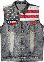 Idopy Men`s Vintage American Flag Leather Denim Vest Sleeveless Jacket ...