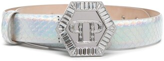 Philipp Plein PP-engraved buckle belt